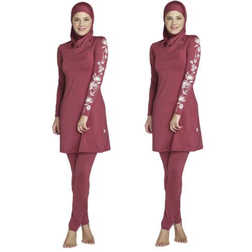 New Women Long Sleeve Muslim Islamic Full Cover Costumes Modest Swimwear Burkini