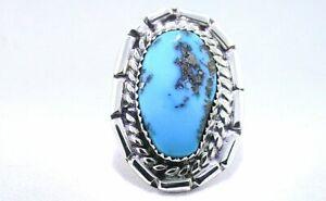 Vintage-Handmade-Navajo-Southwest-Sterling-Silver-Turquoise-Cabochon-Ring-PSR351