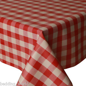 Image Is Loading PVC TABLE CLOTH PICNIC RED GINGHAM CHECK WIPEABLE