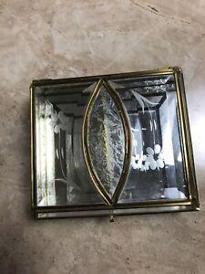 Vintage-Jewelry-Box-Casket-Trinket-Beveled-Glass-Divided-Mirrored-Bottom
