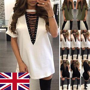 Women-Choker-V-Neck-Casual-Loose-Tops-T-Shirt-Lace-up-Plunge-Blouse-Mini-Dress