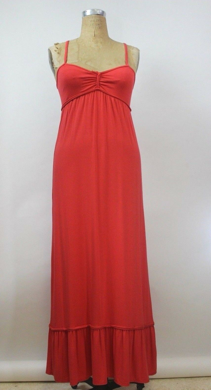 118 MAX STUDIO Womens Size XS Coral Maxi Cami Dress Strappy Long Jersey Knit