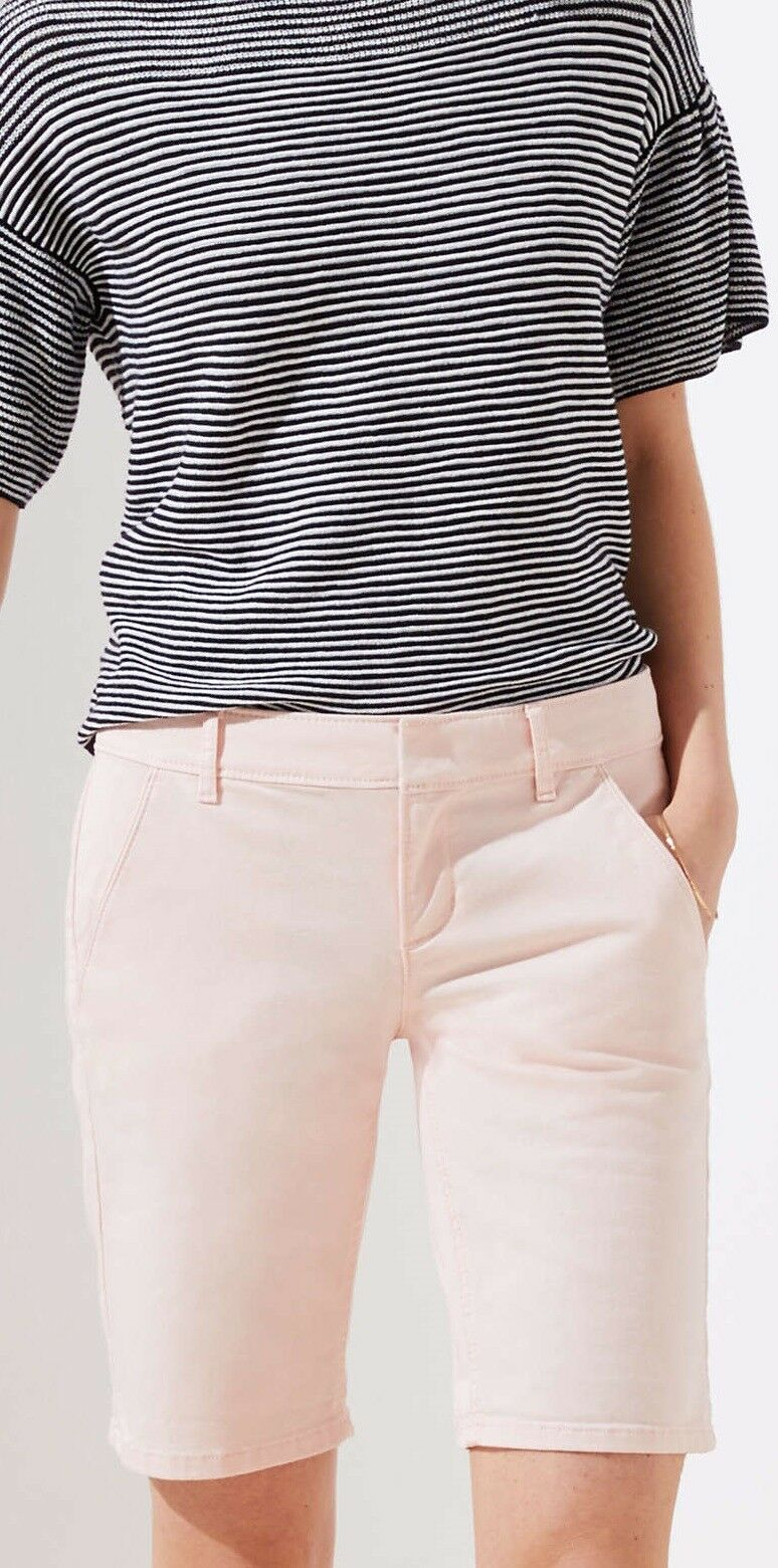 Ann Taylor LOFT Bermuda Roll Shorts Size 2 NWT Pink Fizz color