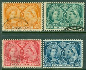 EDW1949SELL : CANADA 1897 Sc #51-54 Fine-Very Fine, Used. Light cancels Cat $70.