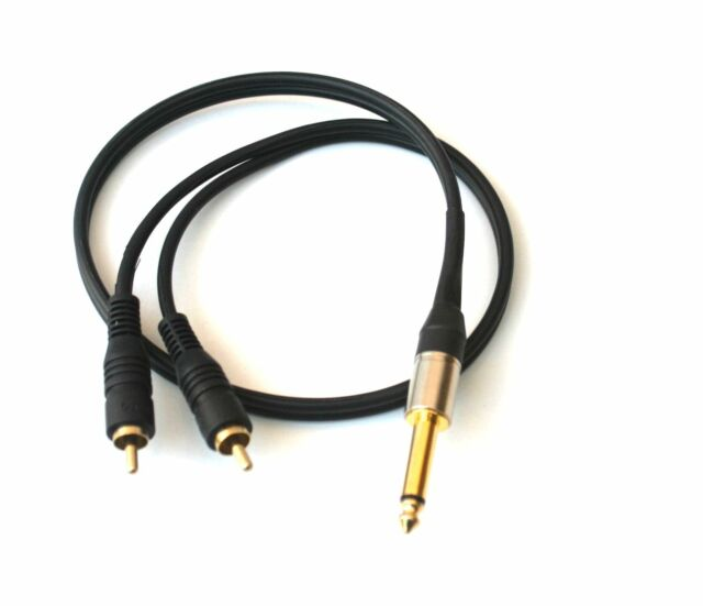 Stereo Mono Splitter Y 1/4 Male to Mic Microphone RCA Cable Audio 1ft to 25'ft