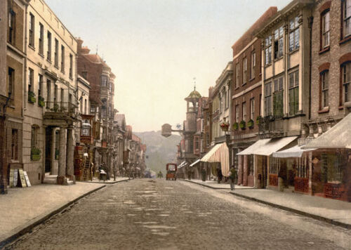 """High Street Guildford Print A3 17/""""x12/"""" PS26 Vintage 1890/'s Photochrom Photo"""