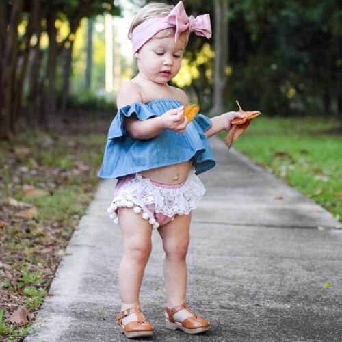 3PCS Infant Newborn Baby Girl Off Shoulder Tops+Shorts Pants+Headband Outfit US