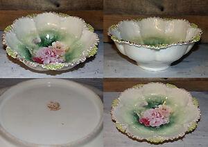 Ceramics & Porcelain Smart Gorgeous Antique Vintage Prussia Serving Bowl Roses Collectible Germany