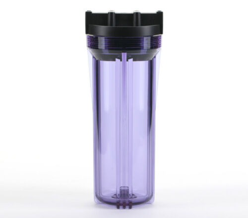"RO /& Filtration Systems 3//4/"" Ports Hydronix 10/"" Clear Housing w// Black Rib Cap"
