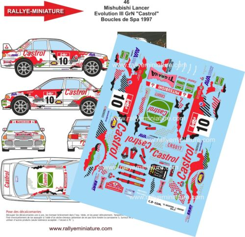 DECALS 1//24 REF 46 MITSUBISHI LANCER HECKTERS BOUCLES DE SPA 1997 RALLYE RALLY