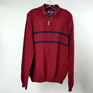 Chaps-Mens-L-Red-Sweater-Blue-Stripes-Knit-Pullover-1-2-Zip-Large-Long-Sleeve