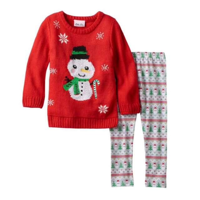 00558f1a4dbc Toddler Girl Little Lass Christmas Sweater   Leggings Set Penguin ...