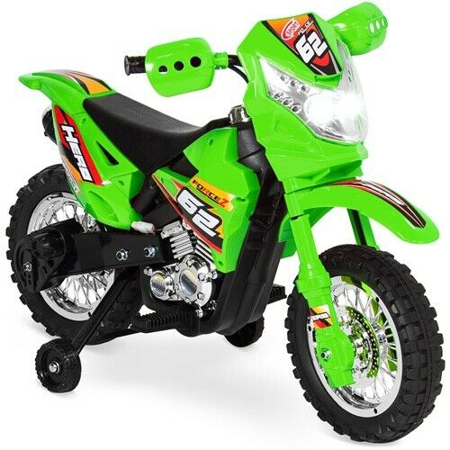 6V Kids Electric Battery-Powered Ride-On Toy Motorcycle Dirt Bike Green Fun New