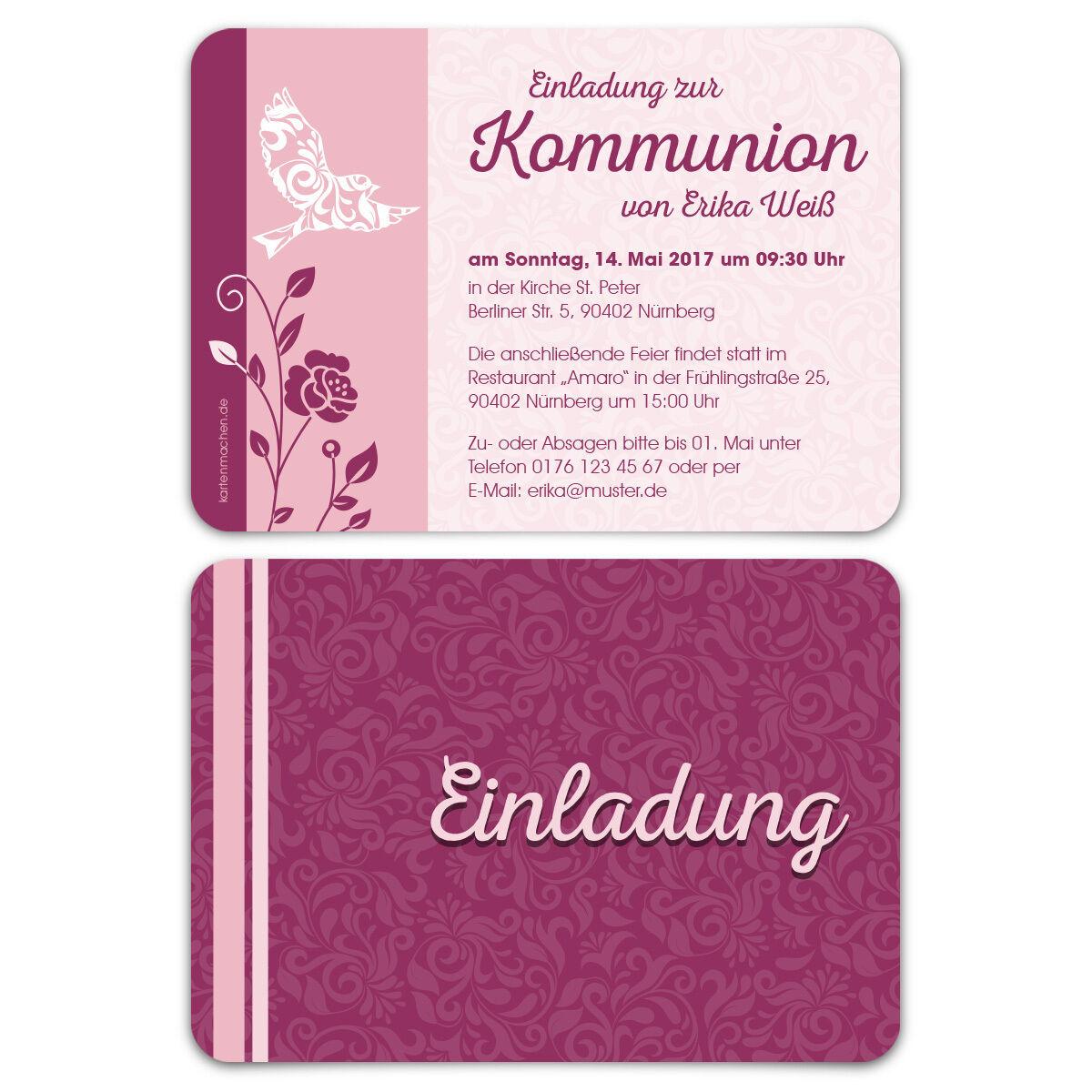 Kommunion Einladungskarten - Friedenstaube - Kommunionskarten Einladung   | Die Qualität Und Die Verbraucher Zunächst  | Grüne, neue Technologie