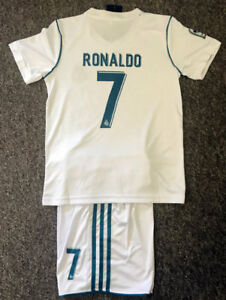 sports shoes 02c36 b523d Details about 2018 EXPRESS POST KIDS SOCCER JERSEY #7 RONALDO REAL MADRID  HOME TOP & SHORTS