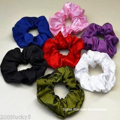 Satin Plain Hair Scrunchies Bobbles Hair Bands Ponio Elastics Band Tie Scrunchie