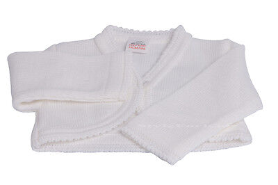 BABY GIRLS BOLERO CARDIGAN KNITTED SHRUG LONG SLEEVED PINK AND WHITE CHRISTENING