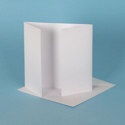 6 Inches 25 Square White Linen Gatefold Card Blanks 260gsm /& Envelopes 155mm
