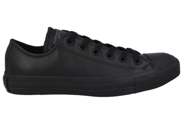 Converse All Star Chuck Taylor Ox 135253c Black Mono Leather Shoes ... 2eb713a054a7