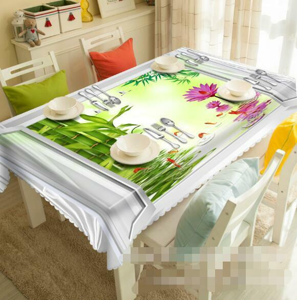 3D Flower Bamboo Tablecloth Table Cover Cloth Birthday Party Event AJ WALLPAPER