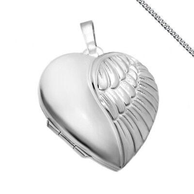 Engelsflügel Herz Medaillon 925 Silber Anhänger Engel Flügel Medaillion Liebe