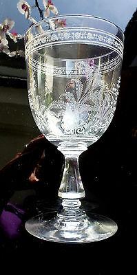 1 Antikes Weinglas Mit Floralem, Meisterhaften Schliff Um 1880 Ca.15,3 Cm