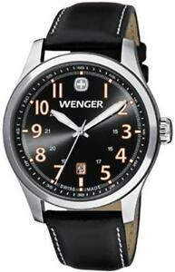 NEW-Wenger-Men-039-s-Terragraph-Black-Leather-Sapphire-Swiss-Watch-0541-104