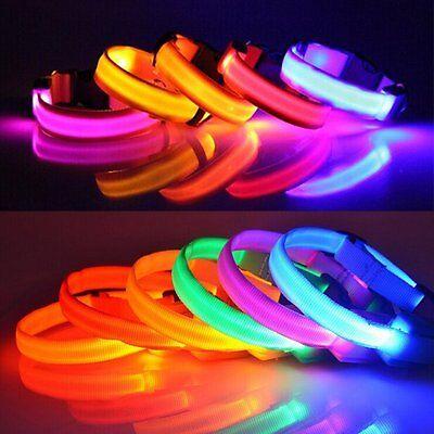 Adjustable LED Pet Dog Glow Night Lights Flashing Light-up Safety Nylon Collar
