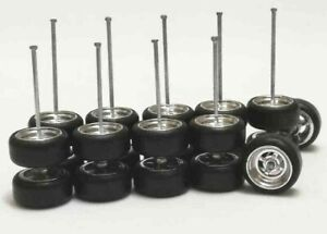 Hot-Wheels-Xtra-Long-Axle-4-Spoke-Rubber-Tire-5-set-CHROME-Nissan-Fairlad-Porshe