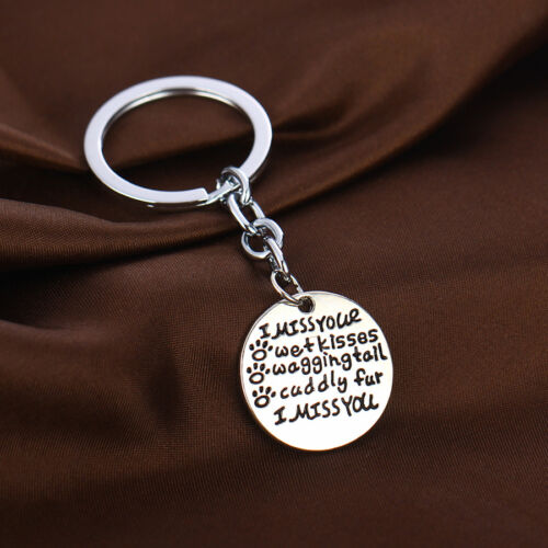 Dog Pet Paw Cat Memorial Keyring Keychain Jewelry Heart Family Mom Dad Son Gift