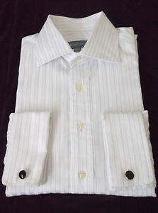 Hickey-Freeman-White-Striped-DRESS-SHIRT-French-Cuff-MENS-15-1-2-39cm
