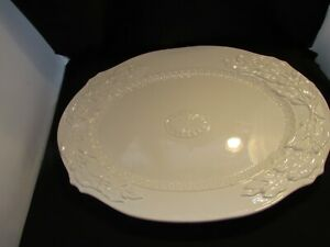 """Fitz & Floyd """"CHATEAU BLANC"""" Embossed Large White Serving Platter ~  21"""" x 15"""" N"""