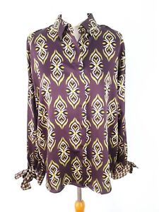 M-amp-S-Collection-12-Purple-Green-Silky-Blouse-Top-Tie-Sleeves-Party-Long-Sleeve