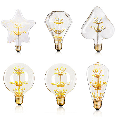 Large Fireworks LED Light E27 Edison Vintage Filament Bulb Lamp Xmas Decorative