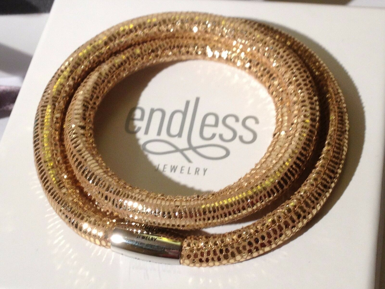 Endless J.Lopez 57cm golden Reptile Bracelet Triple Strand Yellow Clasp  rrp