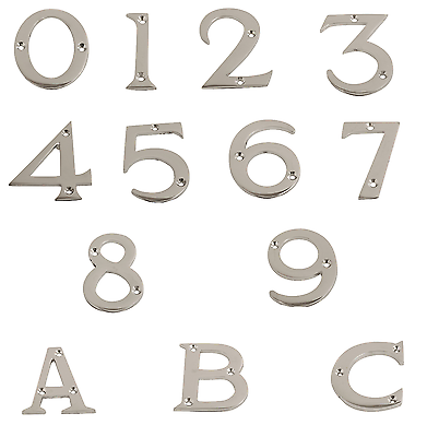 """65mm Polished Brass Numerals Door Numbers 0-9 3/"""" 76mm /& Letters A-C 2.5//8/"""""""