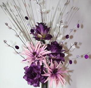 Artificial Silk Flower Arrangement Dusky Pink Purple Flowers Ebay
