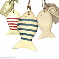 EAST OF INDIA HANGING FISH SHAPED STRIPED NAUTICAL SEASIDE WOODEN DECORATION