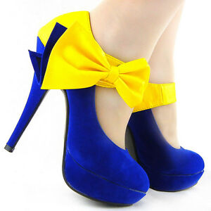 New Ladies Blue Yellow Bow Ankle Strap EVE Platform Pumps Au Sz 4 ...