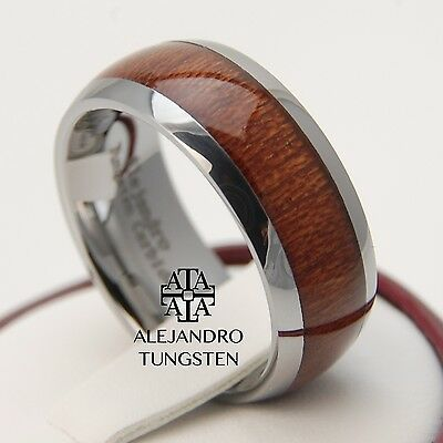 Tungsten Carbide Ring 8MM Amazing Oak Wood Inlay Luxury Wedding Band - TG097