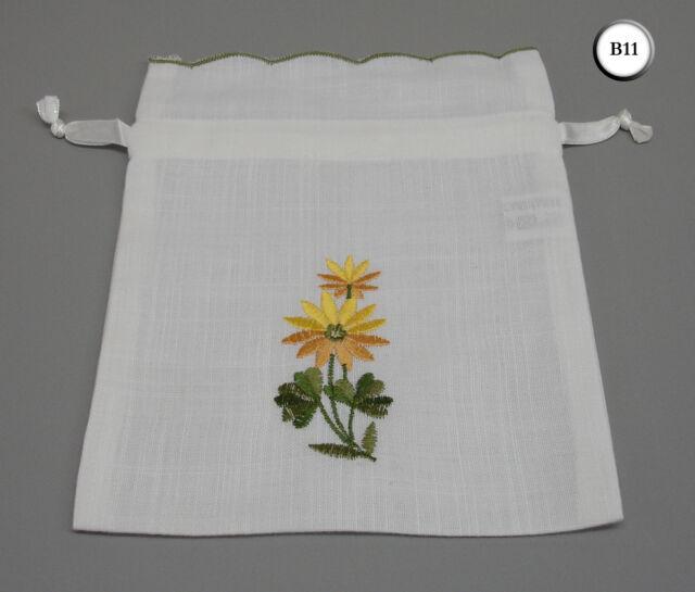 10 Yellow Floral Embroidered Ribbon Drawstring Bags Lavender Pot Pourri B11
