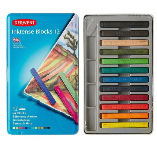 Derwent Inktense Blocks Watercolour Paints Tin Ass Colours 2300442 Set of 12