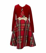 Rare Editions Girls Christmas Holiday Red Plaid Velvet Dress & Bolero Jacket 6X