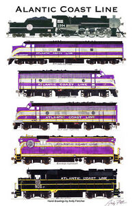 Atlantic-Coast-Line-Locomotives-11-034-x17-034-Railroad-Poster-by-Andy-Fletcher-signed