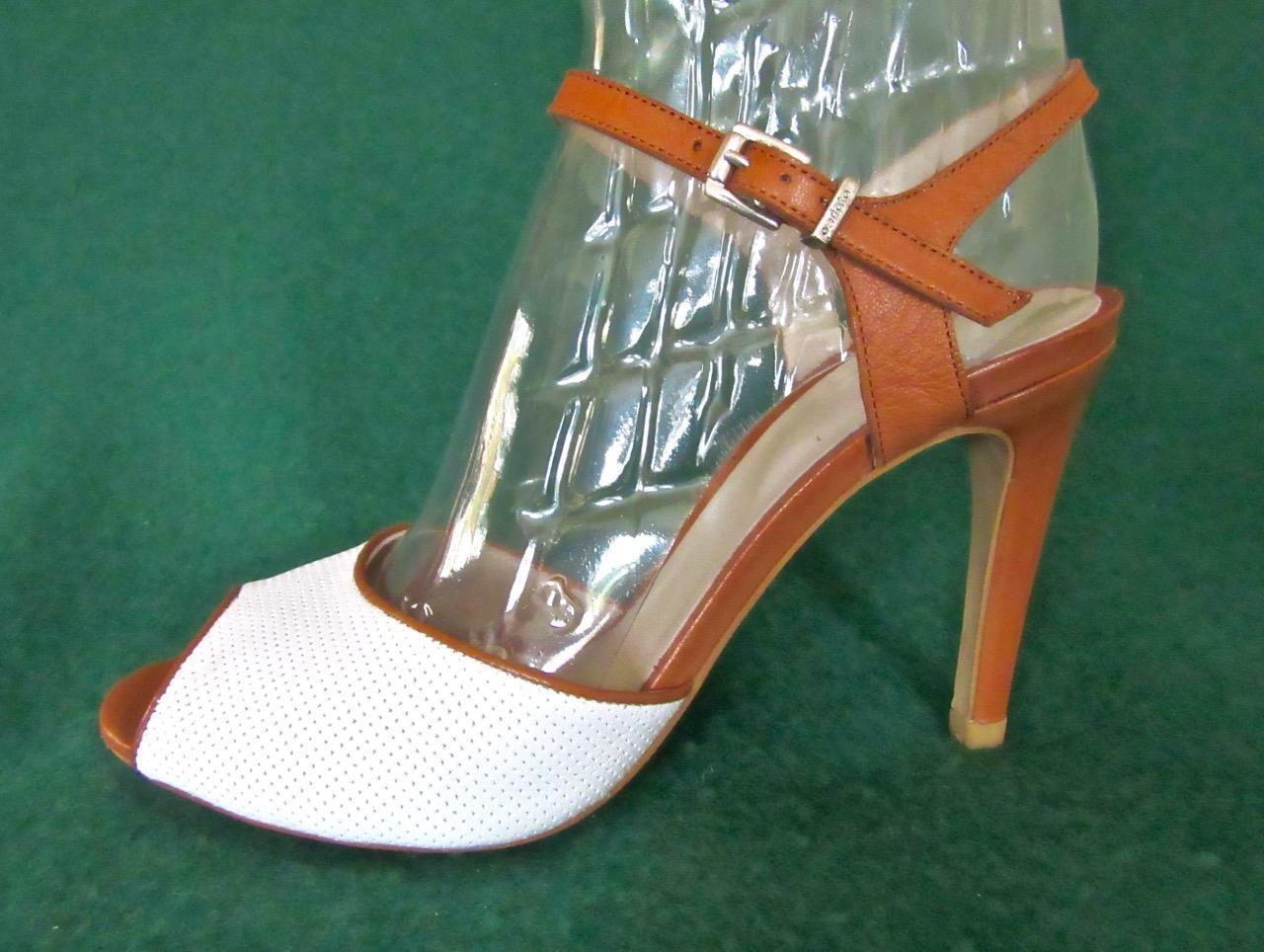 Nuevo Perlato Reino Unido 7 EUR blancoo 40 blancoo EUR y Marrón Tostado Cuero Slingback Zapatos Sandalias De Fiesta c1164e