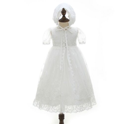 Flowers Plant Christening Lace Tutu Baby Embroidery Gown Baptism Dress with Cape