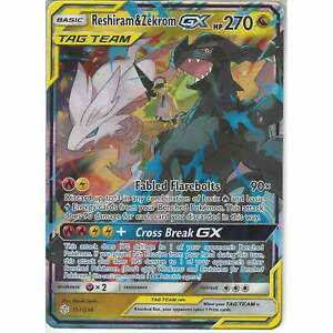 157-236-Reshiram-amp-Zekrom-TAG-TEAM-GX-Rare-Holo-GX-Card-Cosmic-Eclipse-Pokemon