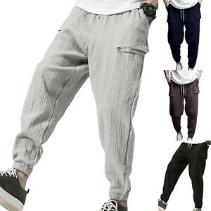 Men-039-s-Casual-Pleated-Drawstring-Pants-Solid-Elasticated-Waist-Pockets-Trousers