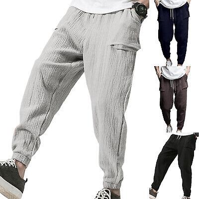 Men Harem Pants Hippie Pockets Loose Casual Sports Yoga Slacks Baggy Trousers