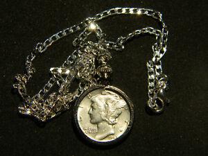 Necklace-Pendant-Vintage-silver-Mercury-dime-coin-VARIOUS-dates-chains-18-inch